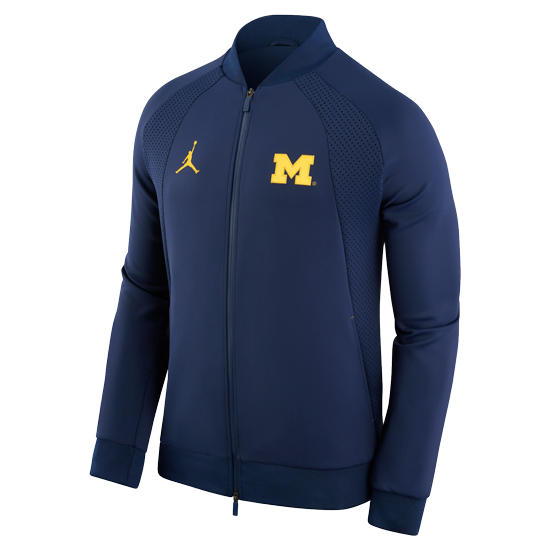 9b351f194296 Jordan University of Michigan Football Navy AJ1   WINGS   Full Zip Warm Up