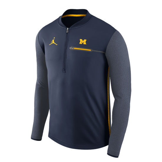 Jordan University of Michigan Football Navy Coaches Dri-FIT Half-Zip Pullover