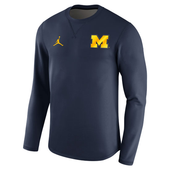 Jordan University of Michigan Football 2017 Navy Modern Crewneck Sweatshirt