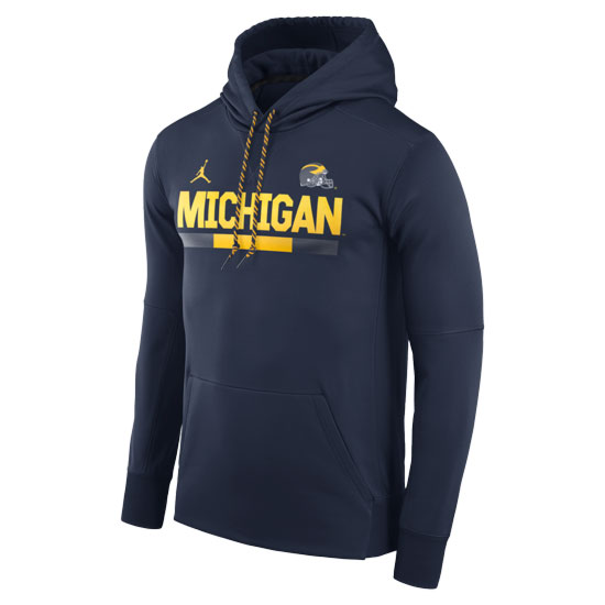 Jordan University of Michigan Football Navy DNA Therma-FIT Hooded Sweatshirt