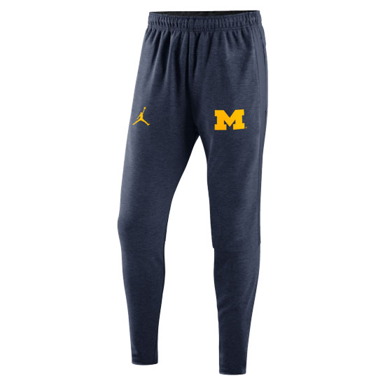 Jordan University of Michigan Football Heather Navy Travel Warm-Up Pants
