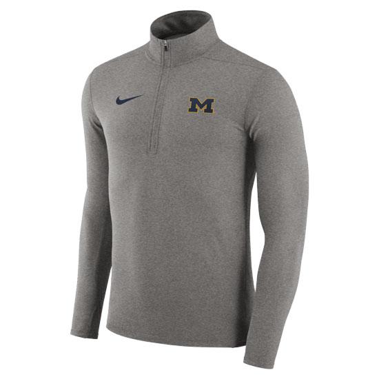 Nike University of Michigan Dark Heather Gray Dri-FIT Element 1/4 Zip  Pullover