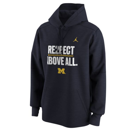 Jordan University of Michigan Football ''RE2PECT ABOVE ALL'' Therma-FIT Hooded Sweatshirt
