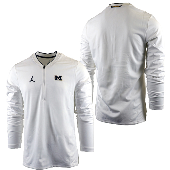 02b3b926a41 Jordan University of Michigan Football Heather White Coaches 1 2 Zip  Pullover. Product Thumbnail Product Thumbnail Product Thumbnail