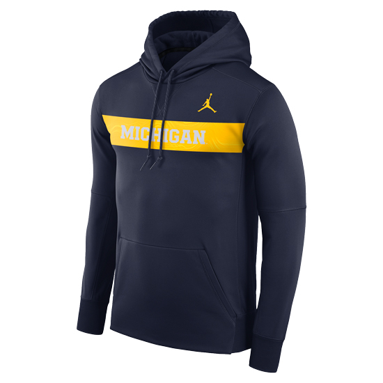 28c7dd646a4372 Jordan University of Michigan Football Navy Sideline Therma-FIT Hooded  Sweatshirt. Product Thumbnail Product Thumbnail Product Thumbnail
