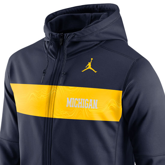 10ee6a0c8634f7 Jordan University of Michigan Football Navy Sideline Therma-FIT Full Zip  Hooded Sweatshirt. Product Thumbnail Product Thumbnail Product Thumbnail
