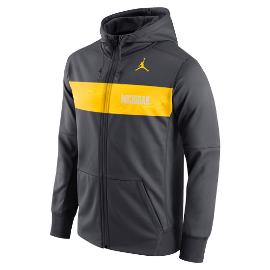 Jordan University of Michigan Football Anthracite Sideline Therma-FIT Full Zip Hooded Sweatshirt