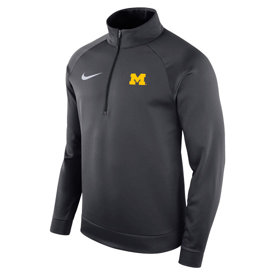 Nike University of Michigan Anthracite Therma-FIT Half-Zip Pullover