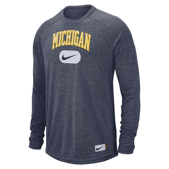Nike University of Michigan Light Heather Navy Long Sleeve Stadium Tee