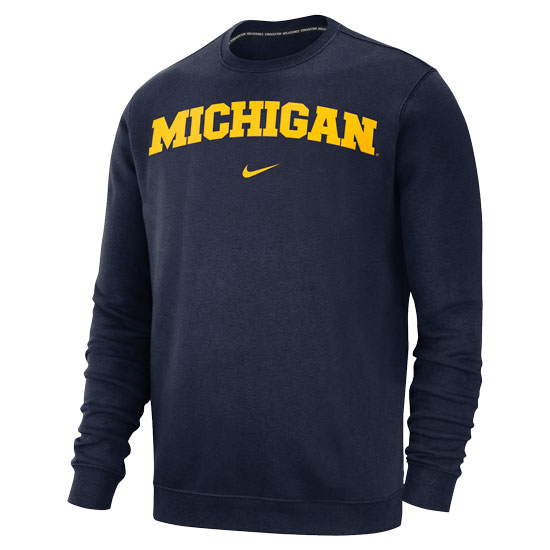 Nike University of Michigan Navy Basic Club Crewneck Sweatshirt