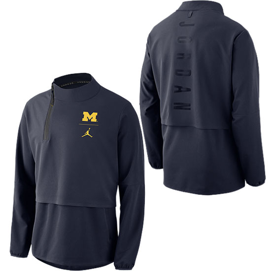 Jordan University of Michigan Football Navy J23 1/4 Zip Pullover Jacket