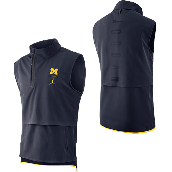 Jordan University of Michigan Football Navy J23 Sleeveless 1/4 Zip Pullover Jacket