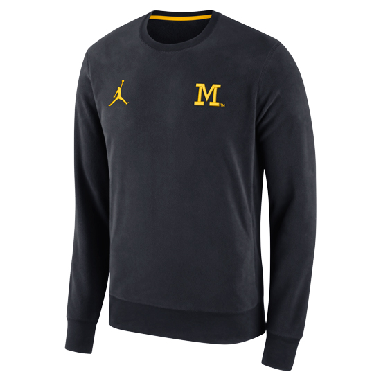 Jordan University of Michigan Football Navy Early Season Head Coaches Fleece Crewneck Sweatshirt
