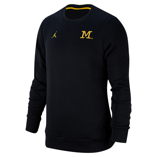 Jordan University of Michigan Football Navy Late Season Head Coaches Crewneck Sweater