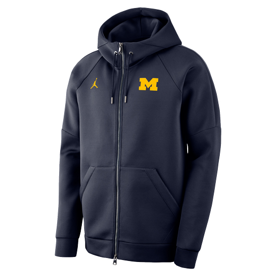 Jordan University of Michigan Football Navy JTech Fleece Full Zip Hooded Jacket