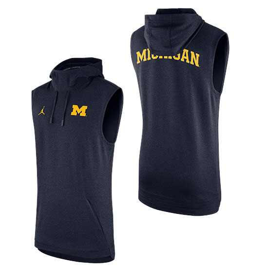 Jordan University of Michigan Football Navy Sphere Sideline Sleeveless Dri-FIT Hooded Sweatshirt