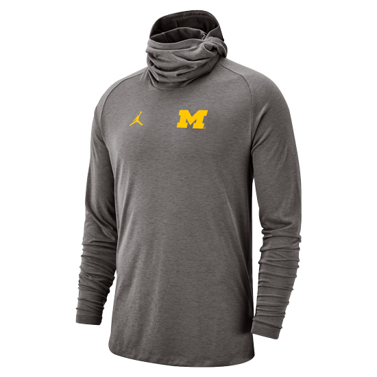 Jordan University of Michigan Football Carbon Heather Gray Long Sleeve Bala Hooded Tee