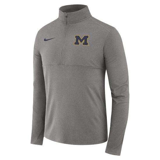Nike University of Michigan Gray Dri-FIT Core 1/2 Zip Pullover