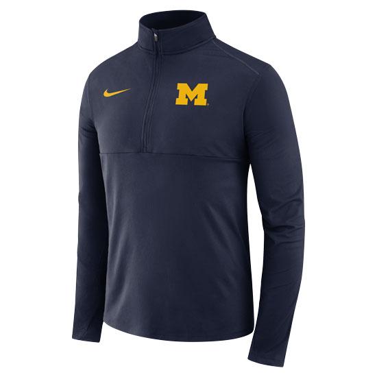 Nike University of Michigan Navy Dri-FIT Core 1/2 Zip Pullover