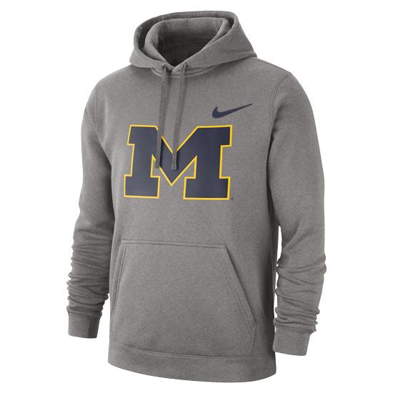 Nike University of Michigan Gray Stadium Club Block ''M'' Hooded Sweatshirt
