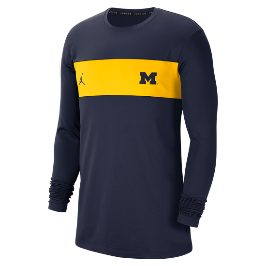 Jordan University of Michigan Football Navy Long Sleeve Dri-FIT Pregame Top