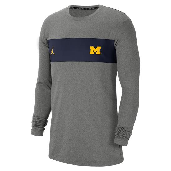 Jordan University of Michigan Football Charcoal Gray Long Sleeve Dri-FIT Pregame Top