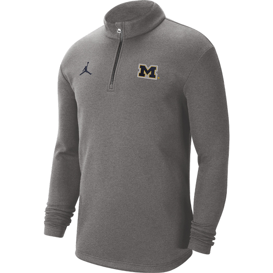 Jordan University of Michigan Football Carbon Heather Gray Coaches Sideline Dri-FIT 1/2 Zip Pullover