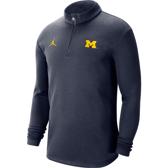 Jordan University of Michigan Football Navy Coaches Sideline Dri-FIT 1/2 Zip Pullover