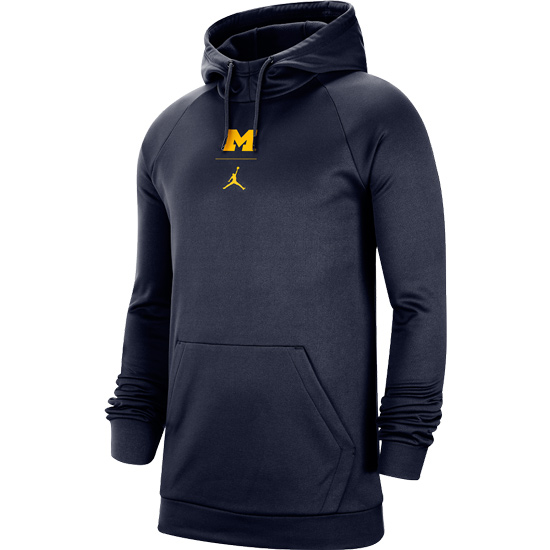 Jordan University of Michigan Football Navy Therma-FIT Practice Hooded Sweatshirt