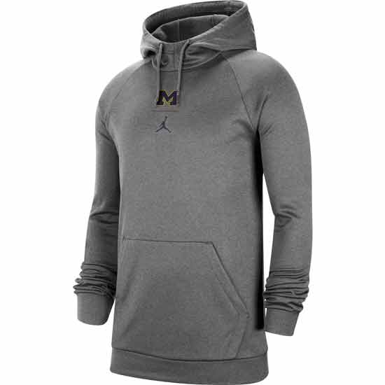 Jordan University of Michigan Football Charcoal Heather Gray Therma-FIT Practice Hooded Sweatshirt