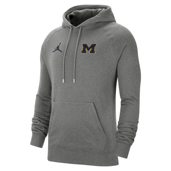 Jordan University of Michigan Football Carbon Heather Gray Travel Hooded Sweatshirt