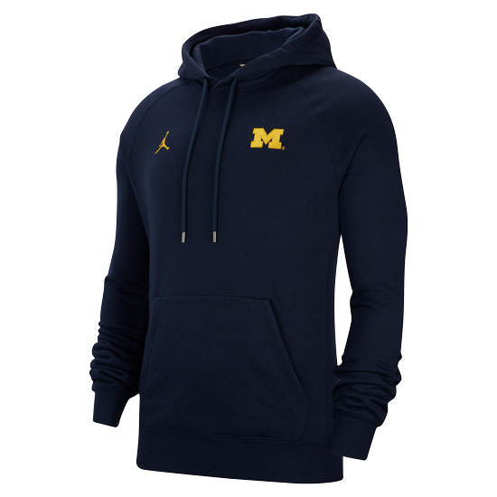 Jordan University of Michigan Football Navy Travel Hooded Sweatshirt