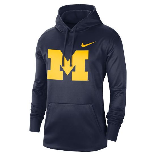 Nike University of Michigan Navy Block ''M'' Circuit Therma-FIT Performance Hooded Sweatshirt