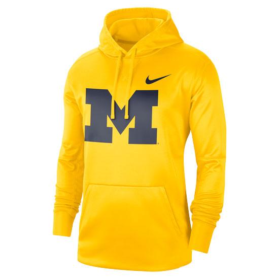 Nike University of Michigan Maize Block ''M'' Circuit Therma-FIT Performance Hooded Sweatshirt
