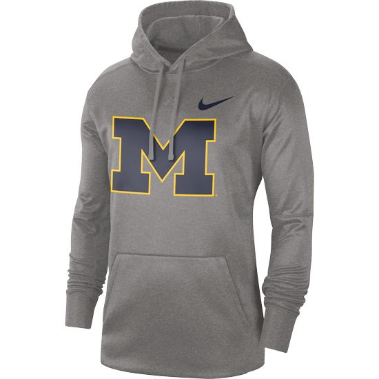 Nike University of Michigan Gray Block ''M'' Circuit Therma-FIT Performance Hooded Sweatshirt