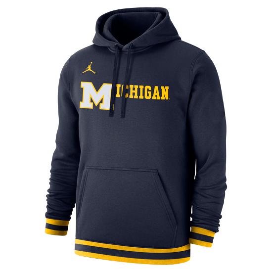 Jordan University of Michigan Basketball Navy Retro Stadium Club Hooded Sweatshirt