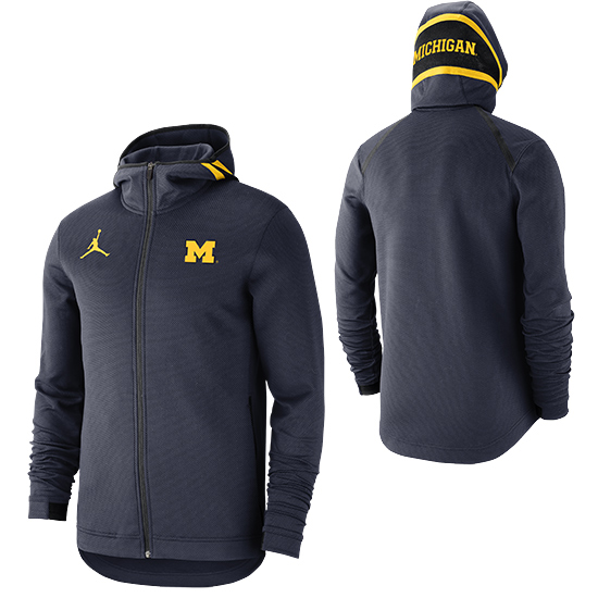 Jordan University of Michigan Basketball Navy Showtime Therma-FLEX Full-Zip Hooded Sweatshirt
