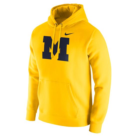Nike University of Michigan Maize Stadium Club Block ''M'' Hooded Sweatshirt
