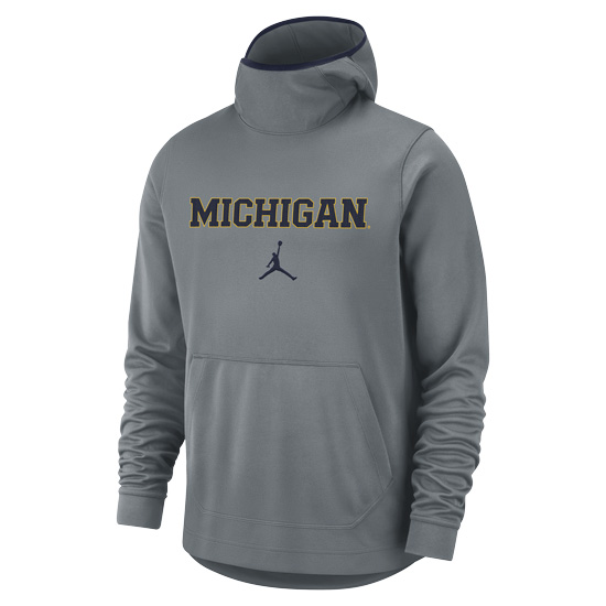 Jordan University of Michigan Basketball Gray Spotlight Dri-FIT Pullover Hooded Sweatshirt