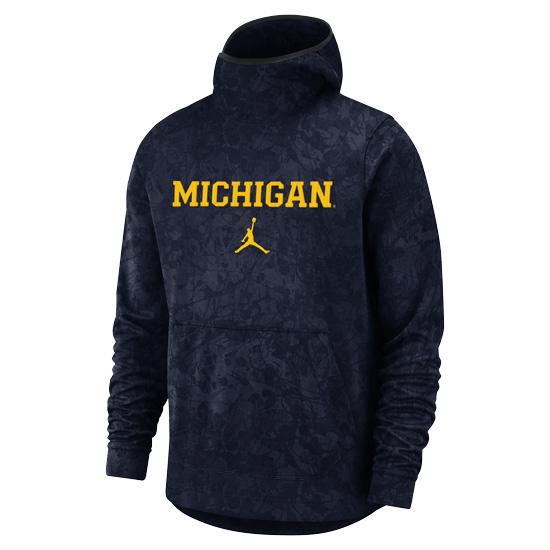 Jordan University of Michigan Basketball Navy ''Brushstroke'' Spotlight Dri-FIT Pullover Hooded Sweatshirt