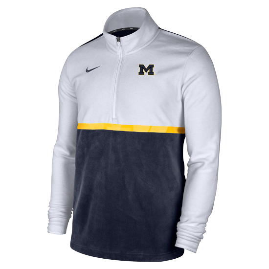 Nike University of Michigan Modern Fan White/Navy Half Zip Fleece Pullover