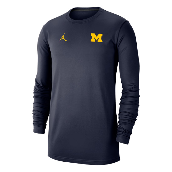 Jordan University of Michigan Football Navy Dry Long Sleeve Crewneck Sweatshirt