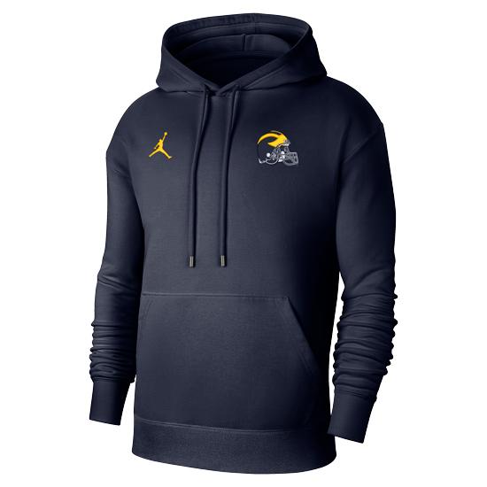 Jordan University of Michigan Football Navy Flight Pullover Hooded Sweatshirt