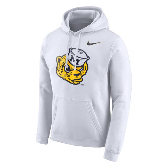 Nike University of Michigan White College Vault Wolverine Stadium Club Hooded Sweatshirt