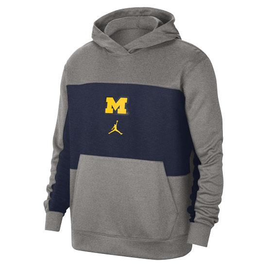 Jordan University of Michigan Basketball Gray/Navy Spotlight Performance Hooded Sweatshirt