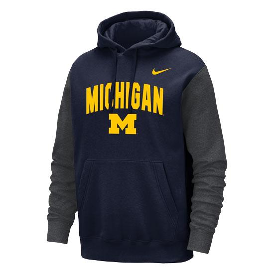 Nike University of Michigan Navy/Gray Stadium Club Hooded Sweatshirt