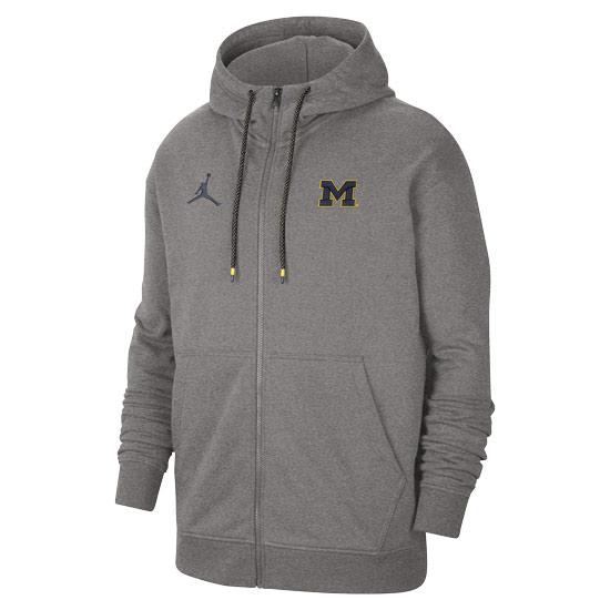 Jordan University of Michigan Football Gray Travel Full Zip Hooded Sweatshirt