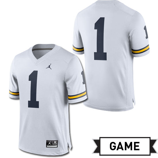 Jordan University of Michigan Football White #1 Game Jersey