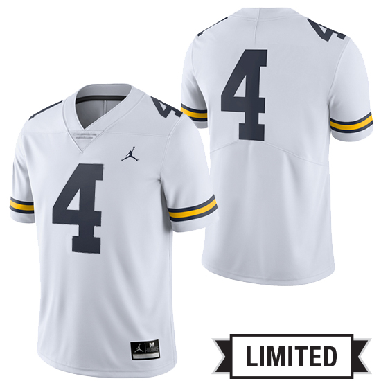 Jordan University of Michigan Football White #4 Limited Jersey
