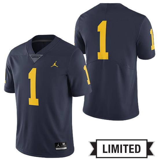 9925875fac71 Jordan University of Michigan Football Navy  1 Limited Jersey